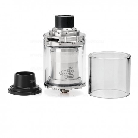 TFMT Style RTA Rebuildable Tank Atomizer - Silver, Stainless Steel + Glass, 4mL, 30mm Diameter