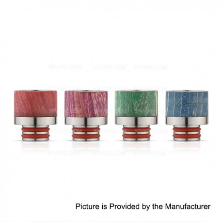 510 Drip Tip - Random Color, Stabilized Wood + Stainless Steel, 15.5mm