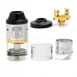 Authentic IJOY Combo RDTA Rebuildable Dripping Tank Atomizer - Silver, Stainless Steel + Glass, 6.5mL, 25mm Diameter