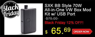 SXK BB Style 70W All-in-One VW Varialbe Box Mod Kit w/ USB Port
