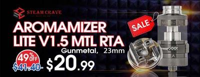 Steam Crave Aromamizer Lite V1.5 MTL RTA Gunmetal Sale