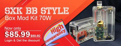 SXK BB Style 70W Box Mod Kit w/ USB Port - Transparent