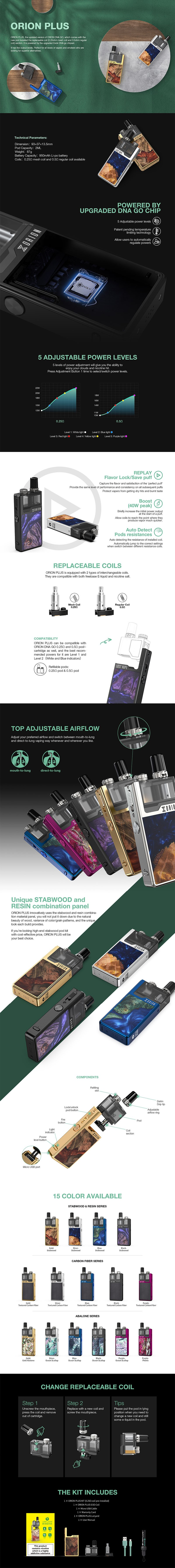 Lost Vape Orion Plus DNA 22W 950mAh VW Pod System Starter Kit