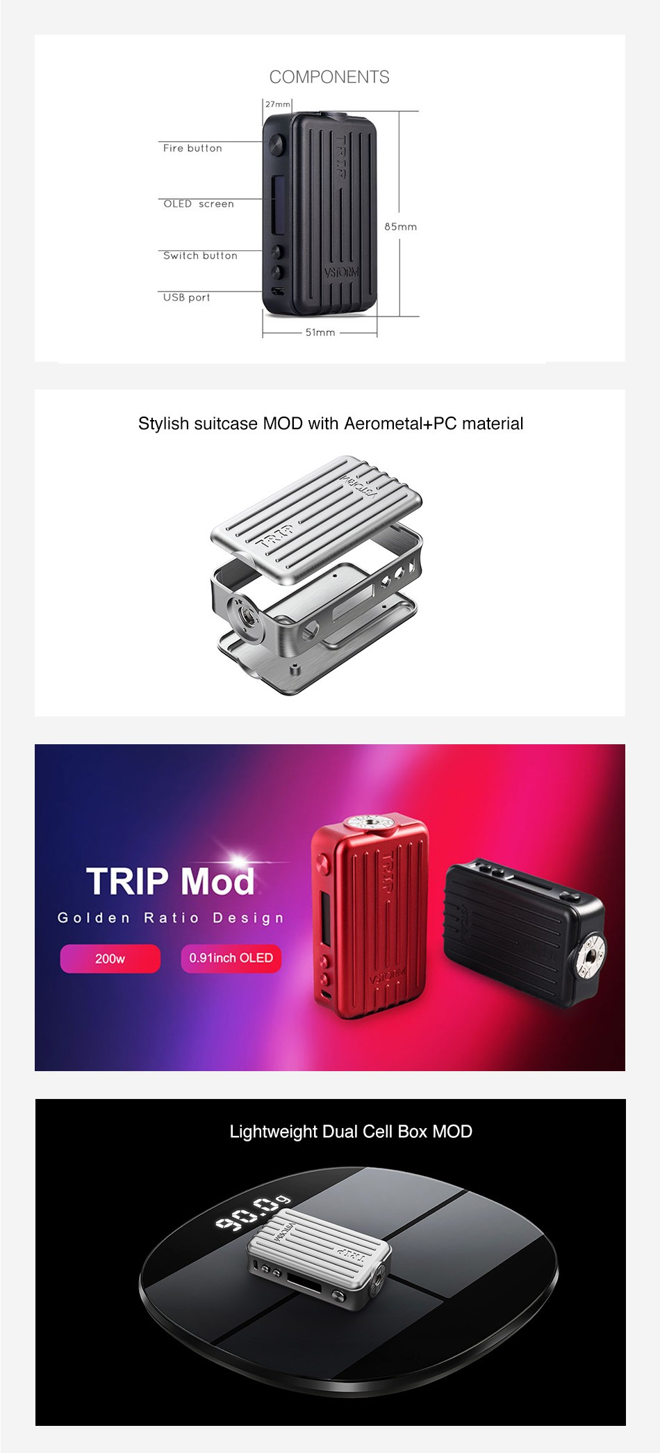 Vapor Storm Trip 200W Suitcase TC VW Variable Wattage Box Mod + Trip Tank Kit