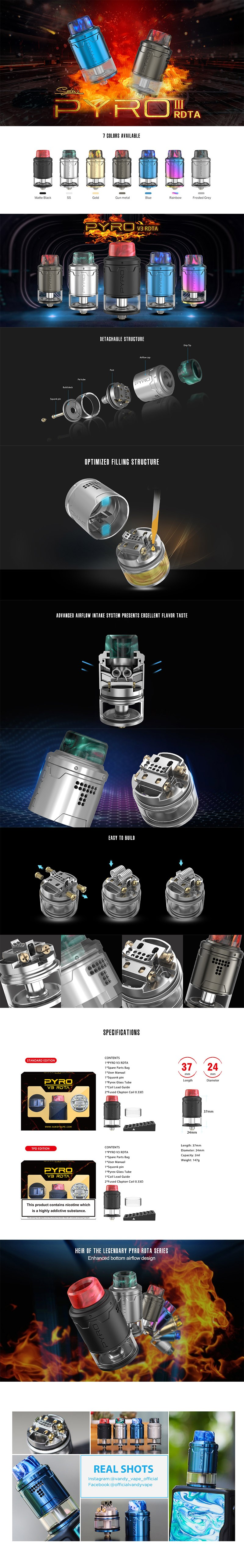 Vandy Vape Pyro V3 RDTA Rebuildable Dripping Tank Atomizer w/ BF Pin