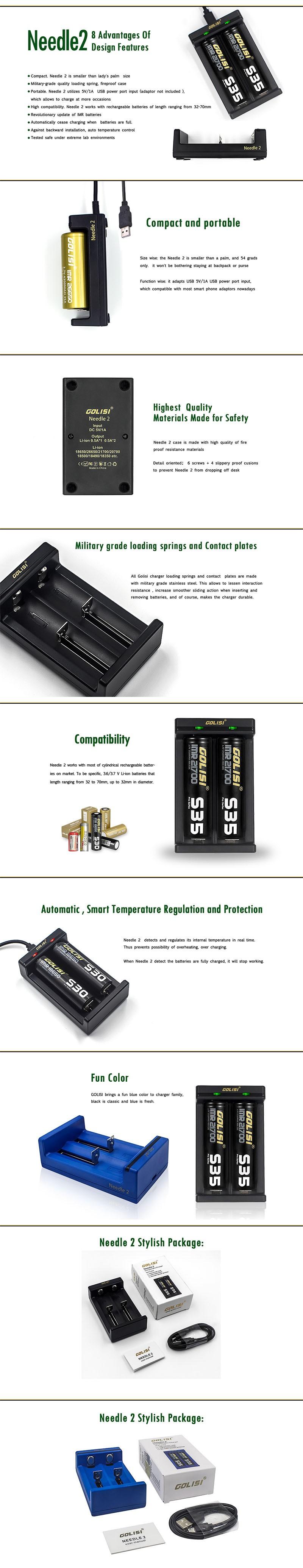 Golisi Needle 2 Smart USB Charger for Li-ion 18650 / 21700 / 26650 / Ni-Mh / Ni-Cd / AAA / AA Battery