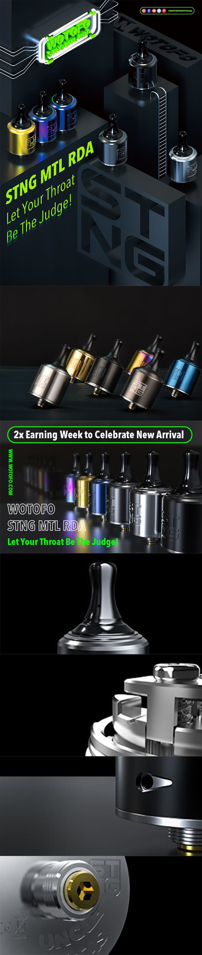 Wotofo STNG MTL RDA Rebuildable Dripping Atomizer
