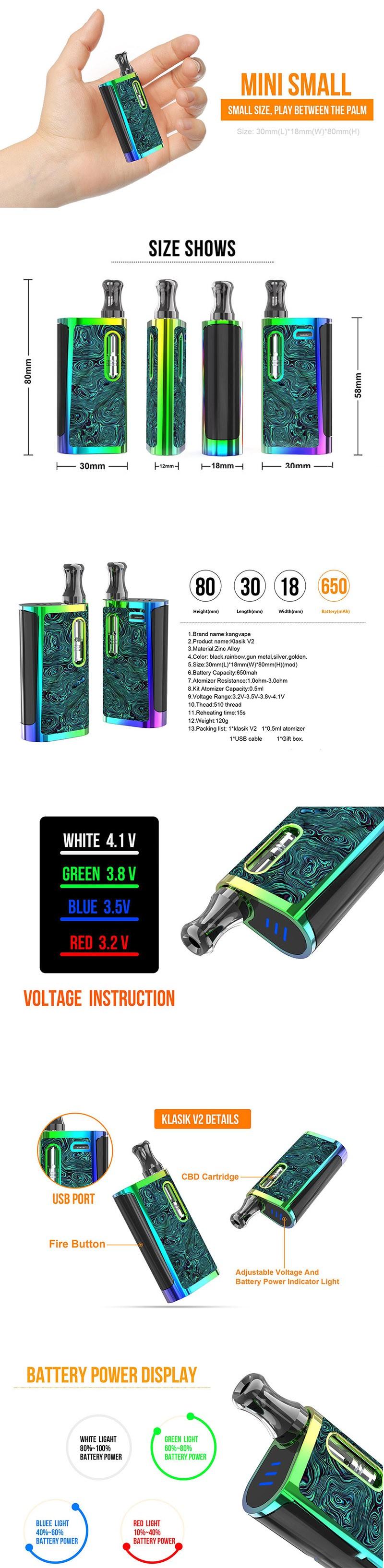 Kangvape Klasik V2 650mAh VV Box Mod E-Cigarette Starter Kit w/ K5 Atomizer