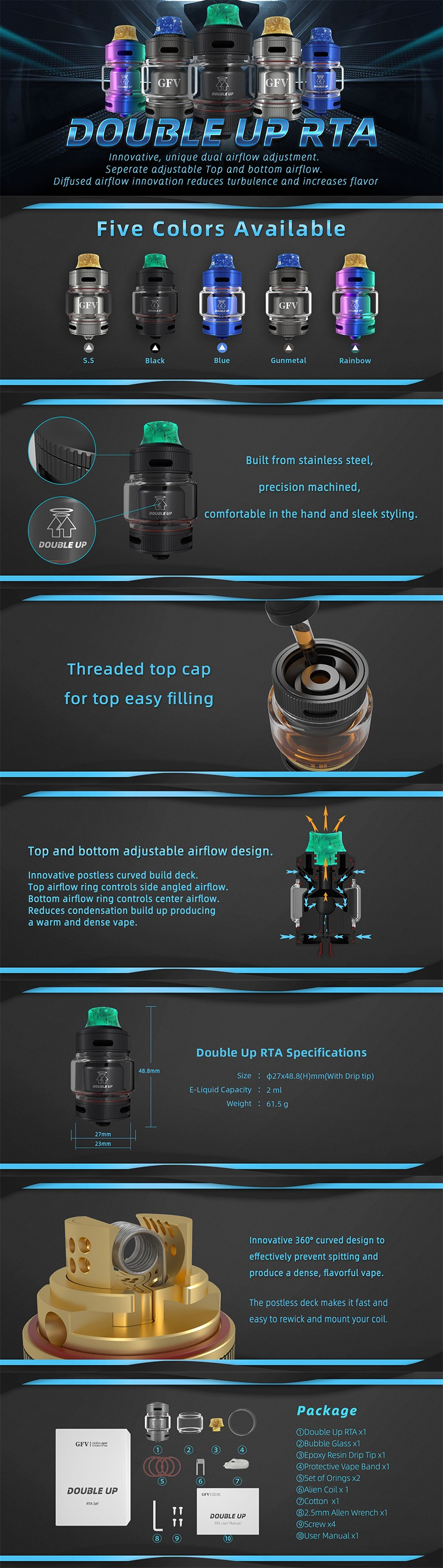 Goforvape Double UP RTA Rebuildable Tank Atomzier