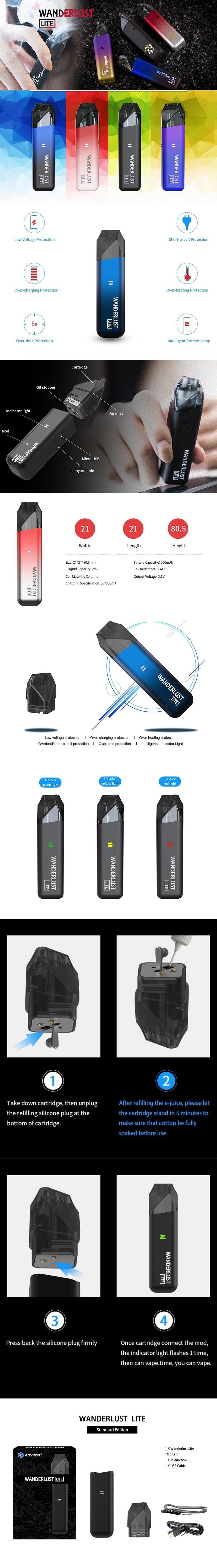 Advken Wanderlust Lite 1000mAh Pod System Starter Kit