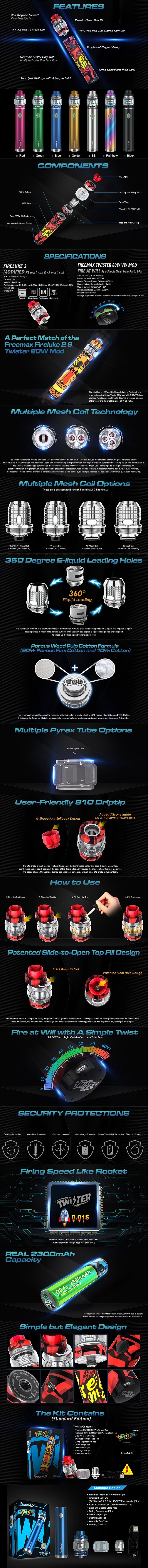 FreeMax Twister 80W 2300mAh VW Battery w/ Fireluke 2 Tank Starter Kit