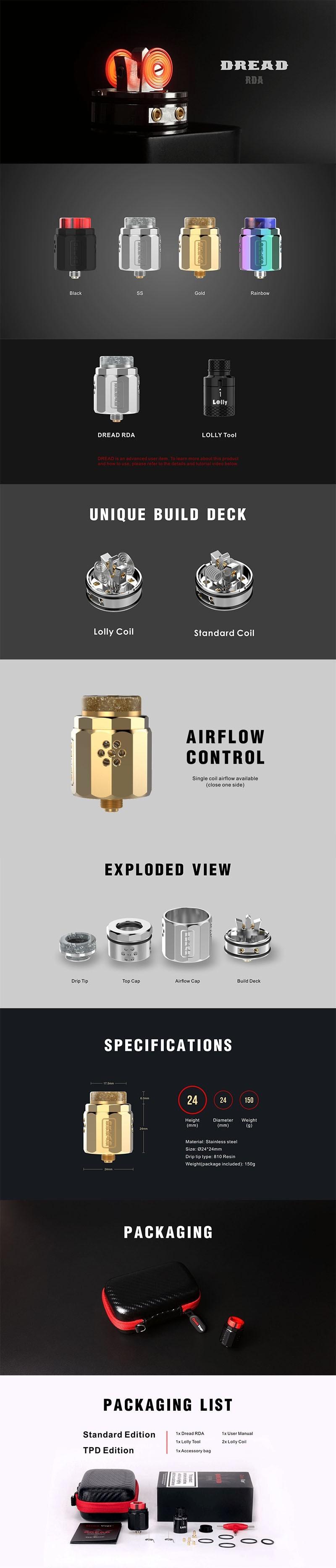 Damn Vape Dread RDA Rebuildable Dripping Atomizer w/ BF Pin