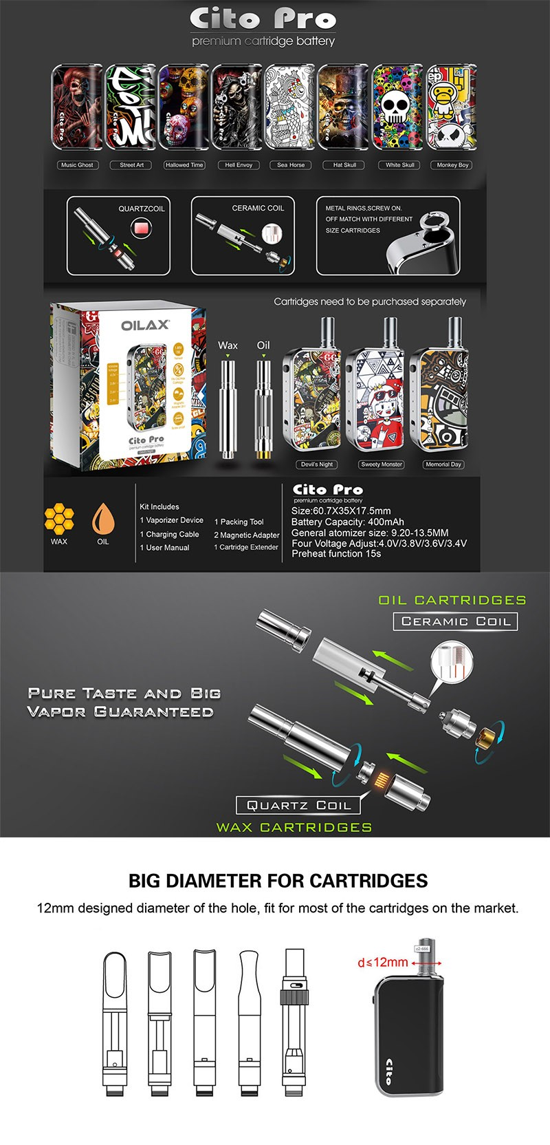 OILAX Cito C2 Pro 2-in-1 400mAh Box Mod Battery with Oil / Wax Cartridge Starter Kit
