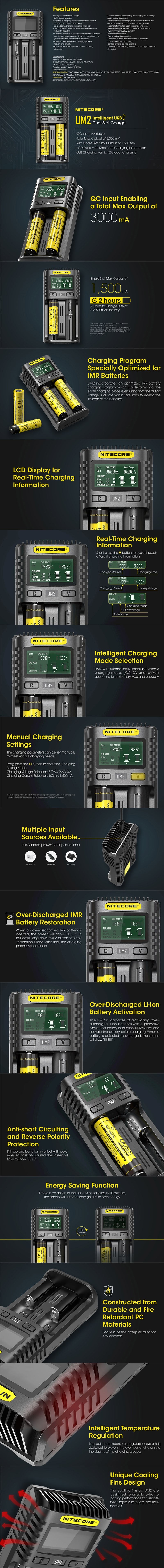 Nitecore UM2 USB Charger for 10440, 14500, 14650, 16500, 1634(RCR123), 18350, 18490, 18500, 18650 Battery