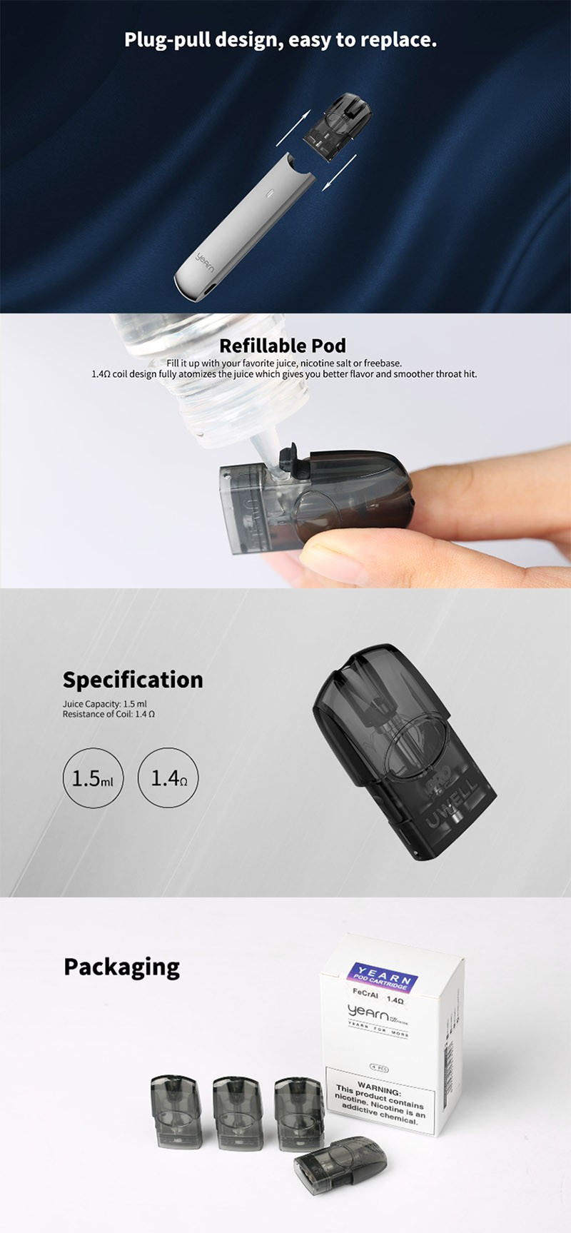 Uwell Yearn Pod Kit Replacement Empty Pod Cartridge