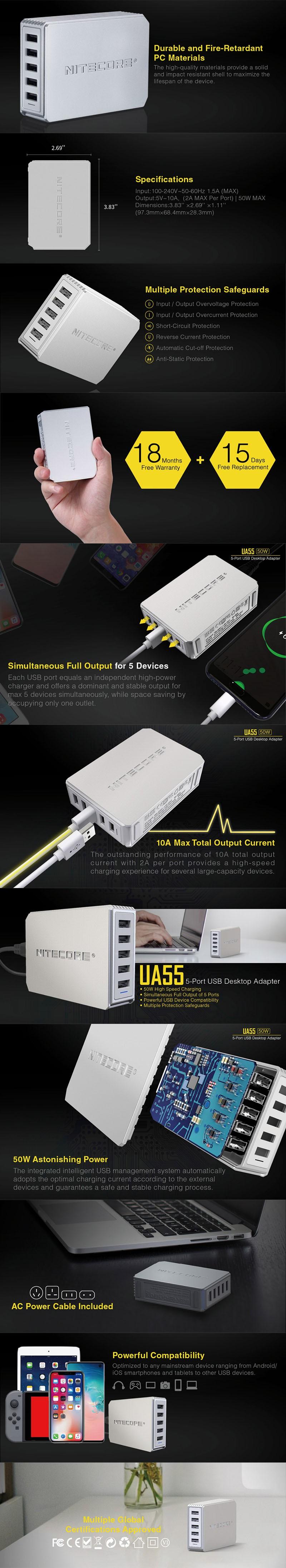 Nitecore UA55 5-Port QC Multiple Protections USB Desktop Adapter