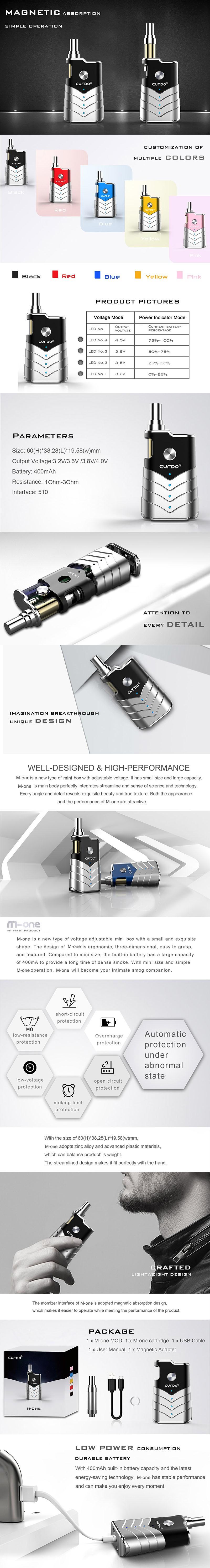 Curdo M-One 400mAh Box Mod w/ M-One Atomizer Starter Kit