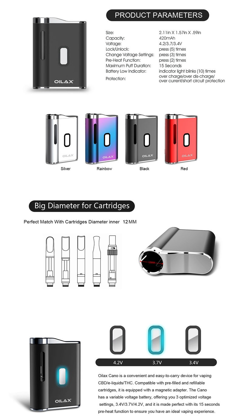OILAX Cano 420mAh Vaporizer Box Mod Battery