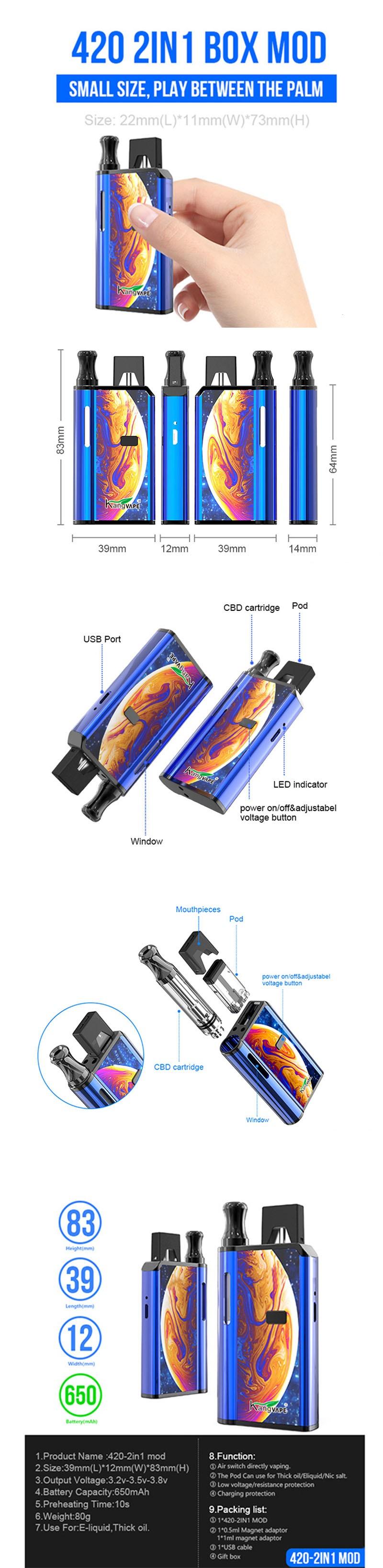 Kangvape 420-2IN1 650mAh APV VV Variable Voltage Box Mod