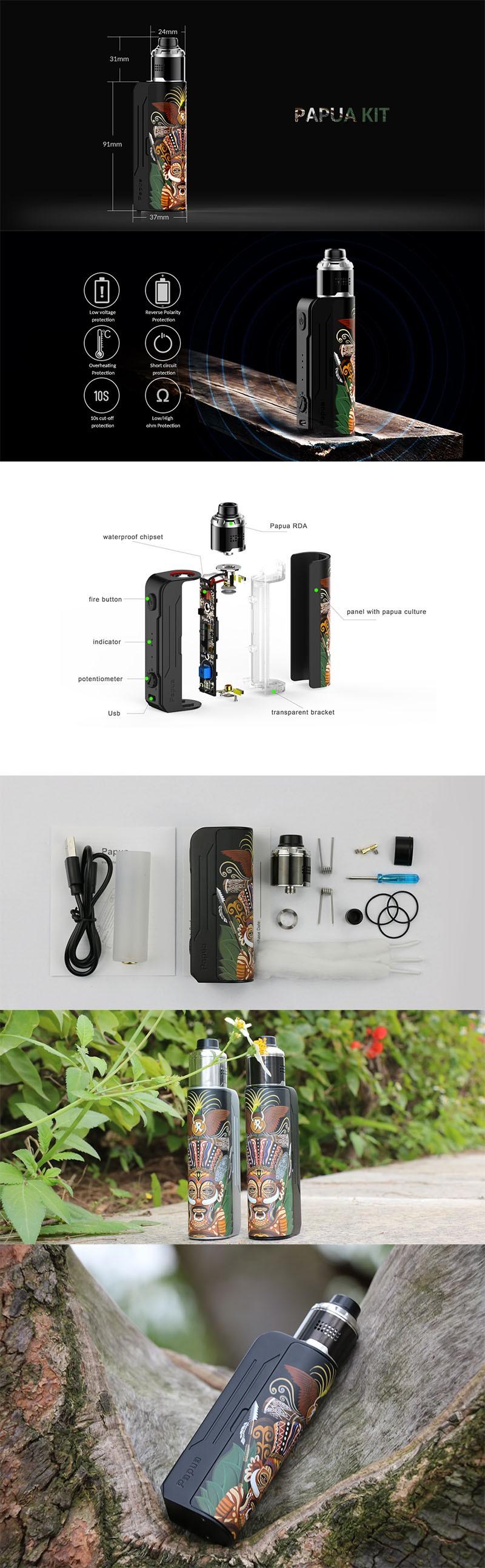 Hippovape Papua 100W VW Variable Wattage Box Mod + RDA Kit