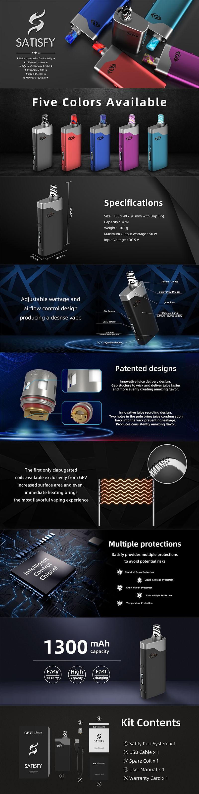Goforvape Satisfy 50W 1300mAh VW Variable Voltage Box Mod Pod System Starter Kit