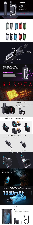 Wismec PREVA 1050mAh Box Mod Battery Starter Kit w/ Pod Cartridge