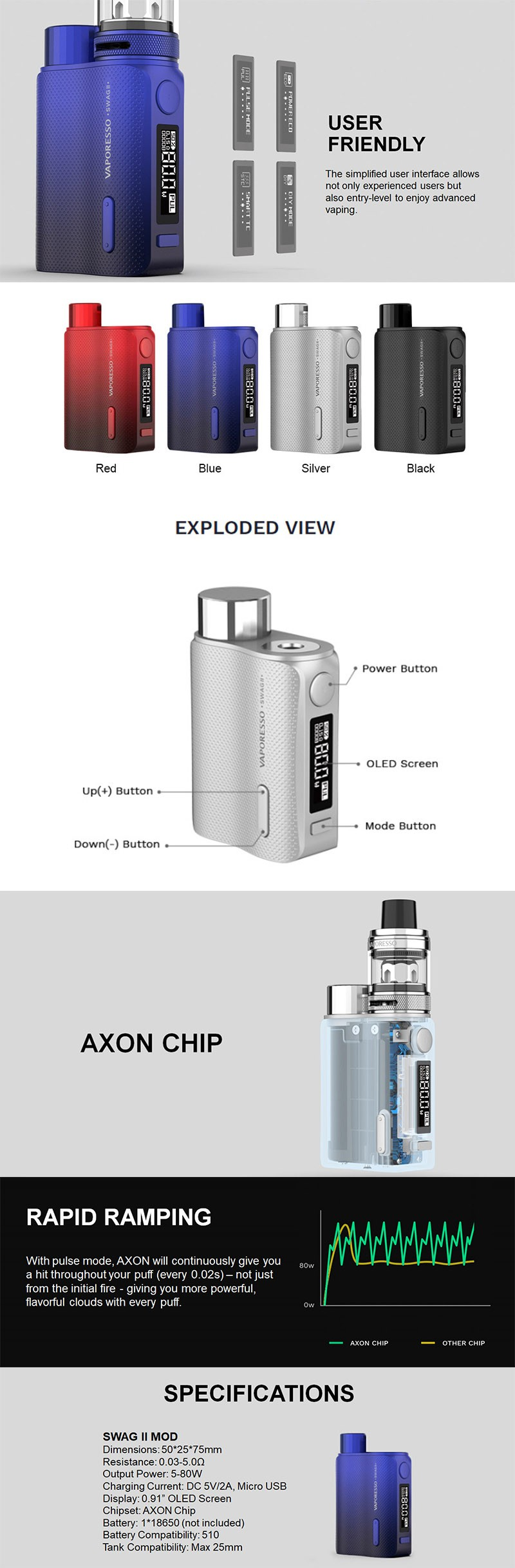 Vaporesso SWAG II 2 80W Variable Wattage Box Mod