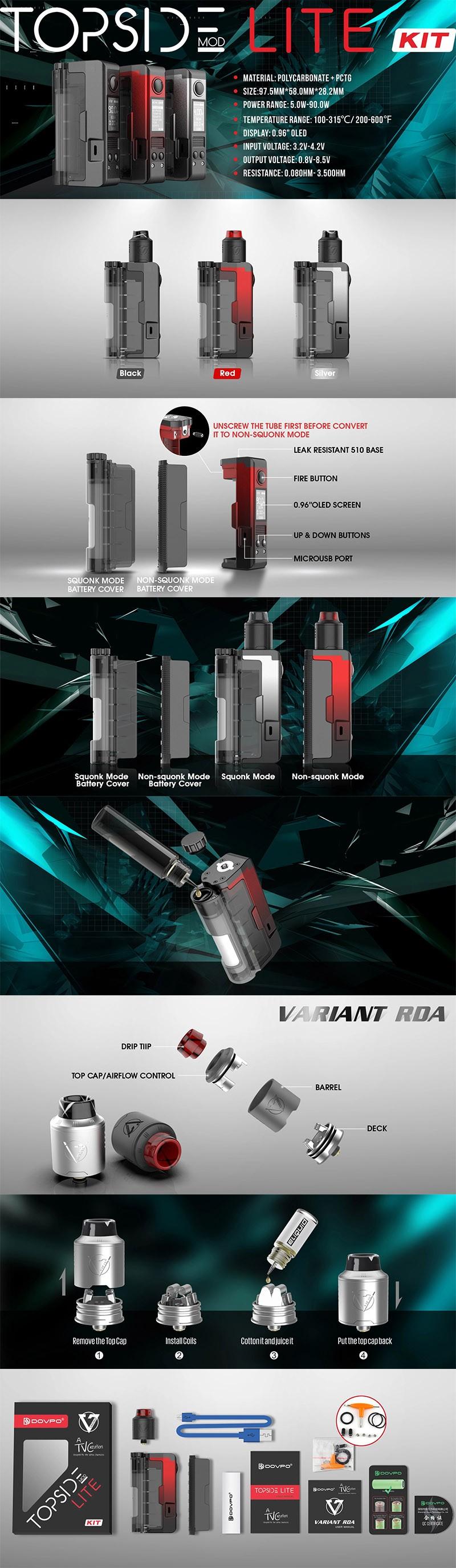 Dovpo 90W Topside Lite Kit TC VW Box Mod + Variant RDA Atomizer
