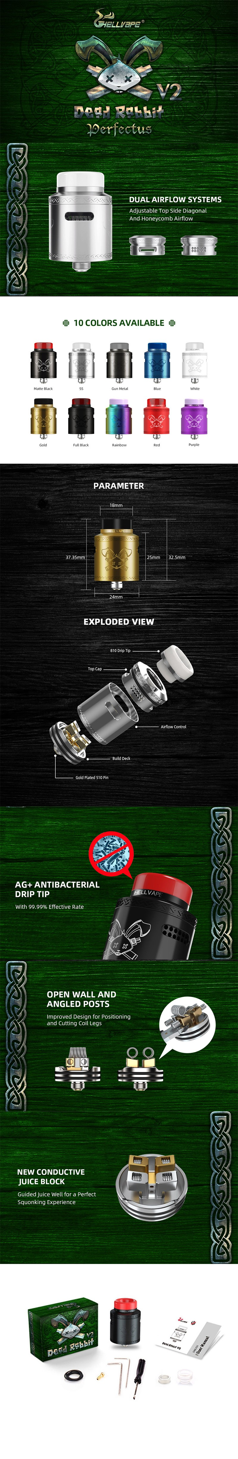 Hellvape Dead Rabbit V2 RDA Rebuildable Dripping Atomzier w/ BF Pin