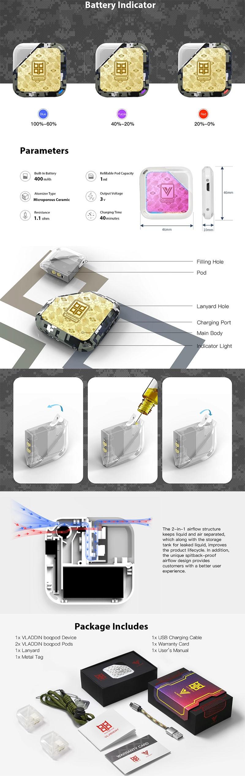 Vladdin Boqpod 400mAh Pod System Starter Kit