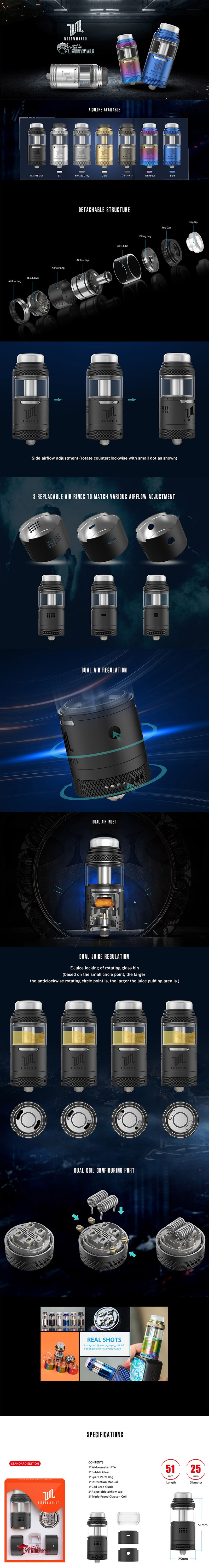 Vandy Vape Widowmaker RTA Rebuildable Vape Tank Atomizer