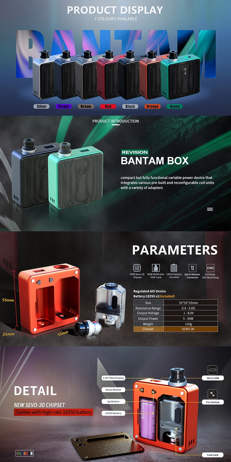[Ships from Battery Warehouse] Authentic SXK Bantam Revision 30W VW Box Vape Mod Kit w/ 18350 Battery