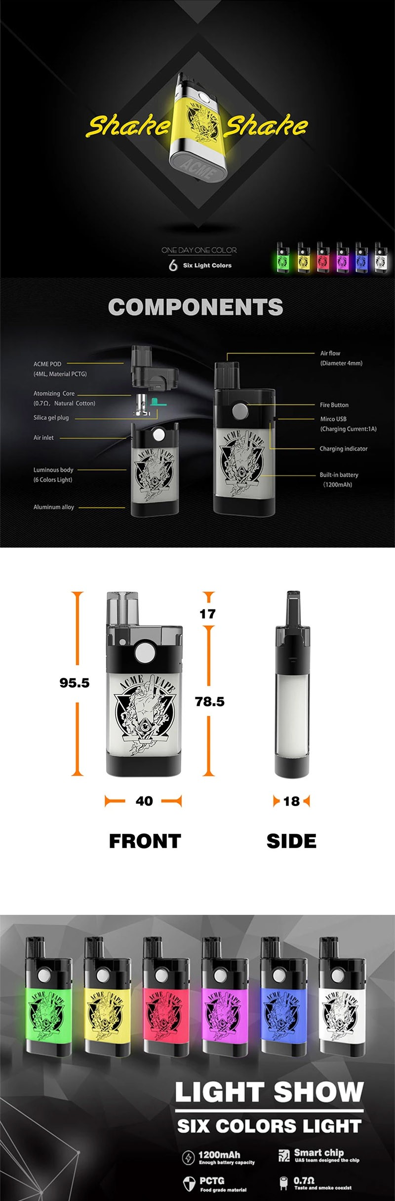 Yuoto ACME 1200mAh Pod System Vape Starter Kit w/ 6 Changing Light