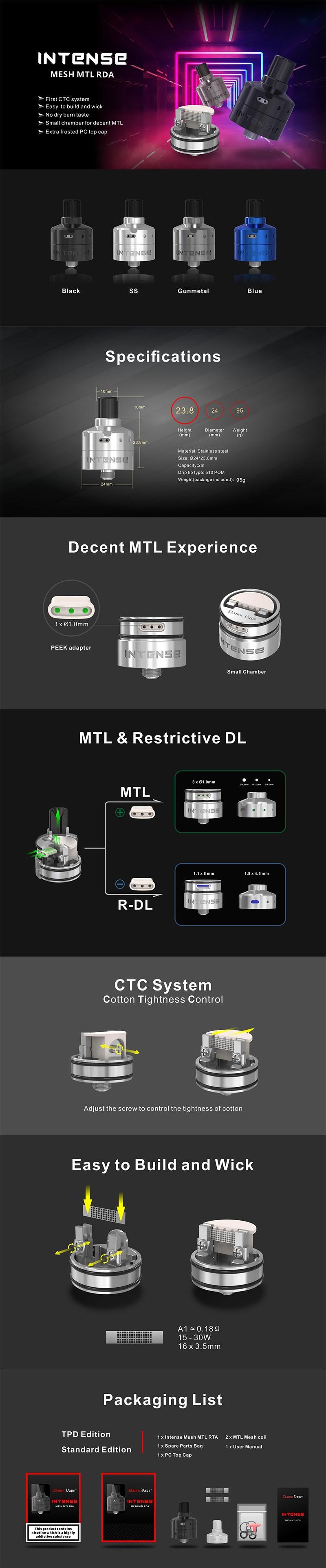 Damn Vape Intense DL / MTL RDA Rebuildable Dripping Vape Atomizer w/ BF Pin