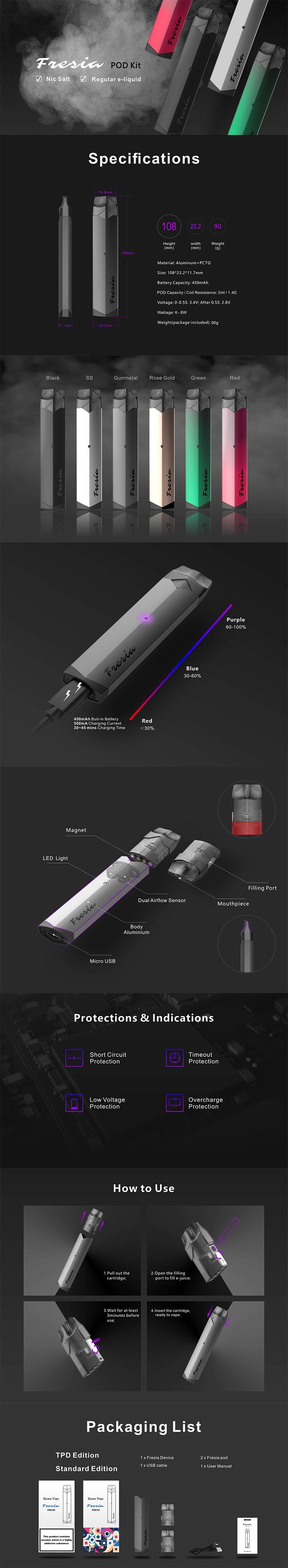Damn Vape Fresia 8W 450mAh MTL Refillable Pod System Vape Starter Kit
