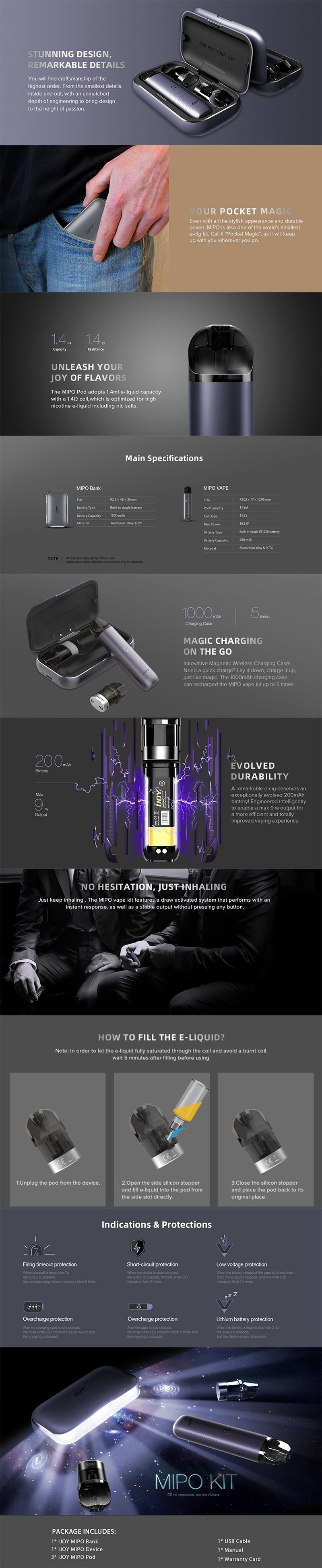 IJOY MIPO 10.5W 200mAh Pod System Vape Starter Kit w/ 1000mAh Charging Bank Case