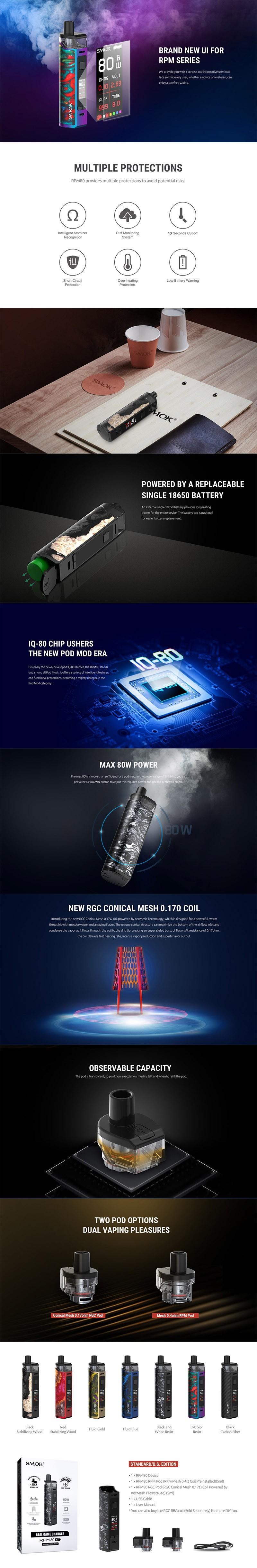 SMOKTech SMOK RPM80 80W VV VW Mod Pod System Vape Starter Kit w/ IQ-80 Chip