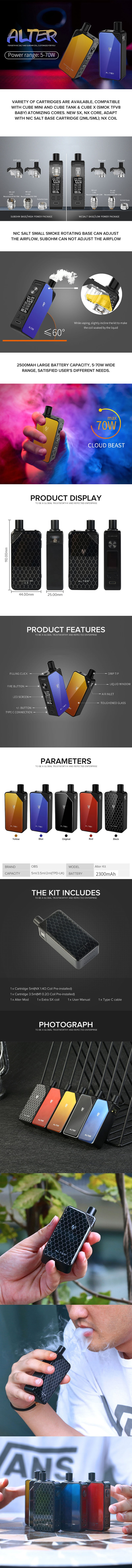 OBS Alter 70W 2500mAh VW Box Mod Pod System Starter Kit