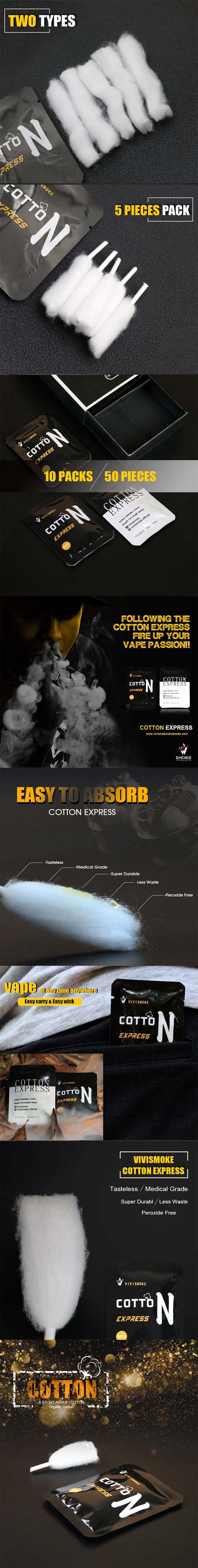 Vivismoke Organic Cotton Express for RBA / RDA / RTA / RDTA Vape Atomizer