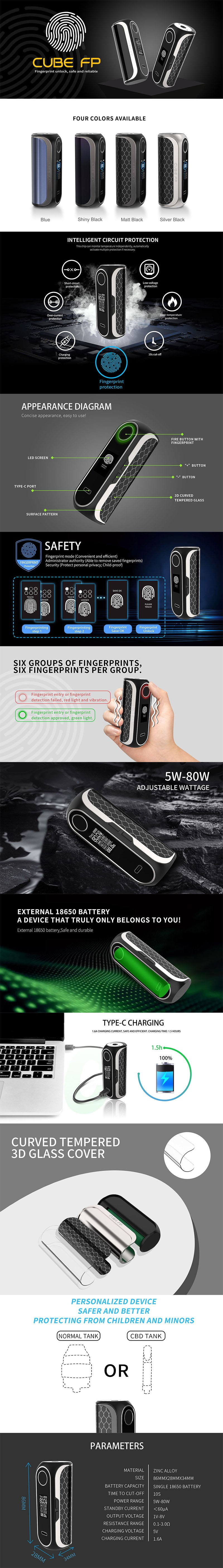 OBS Cube FP Fingerprint Unlock 80W VW Box Vape Mod Kit w/ Cube Tank