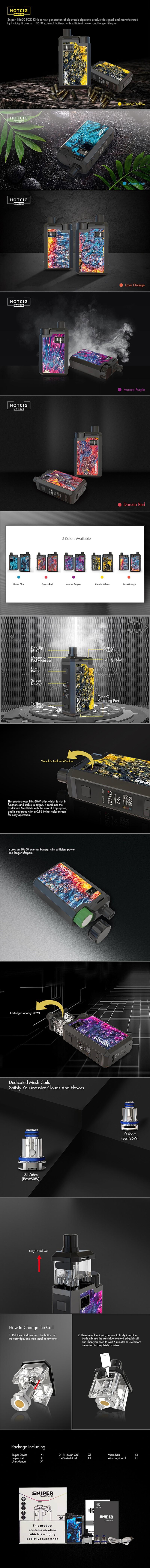 Hotcig Sniper 18650 80W VW Box Mod Pod System Vape Starter Kit