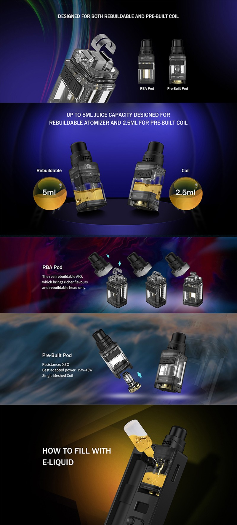 Vandy Vape Kylin M AIO Mod RBA Pod System Vape Kit Replacement DIY Pod Cartridge w/ 5 Steel Wires