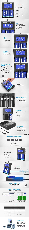 XTAR VC4 Charger for 3.6V / 3.7V Li-ion / IMR/INR/ICR: 18350, 18490, 18500, 18650, 18700, 20700, 21700 Batteries, etc.