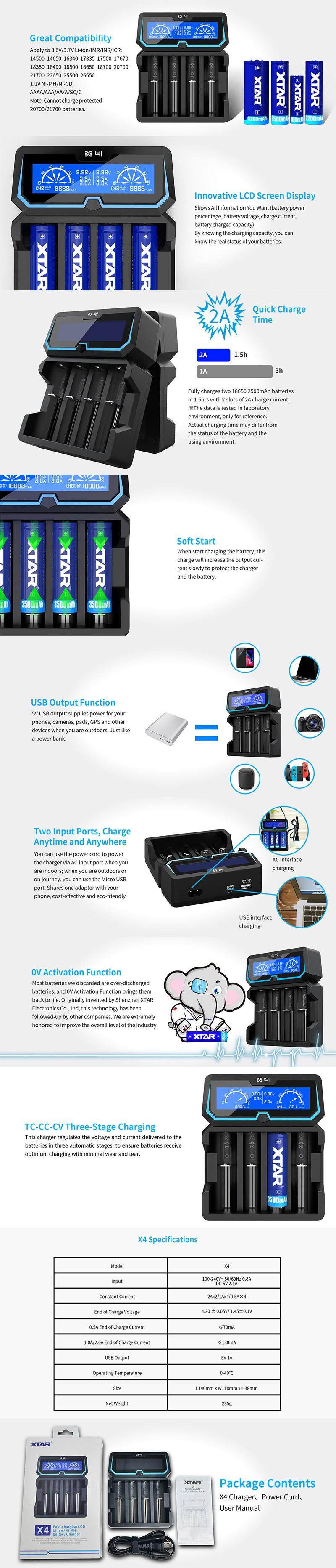 XTAR X4 Charger for 3.6V / 3.7V Li-ion / IMR / INR / 18350 / 18500 / 18650/18700/20700/21700 Batteries, etc.