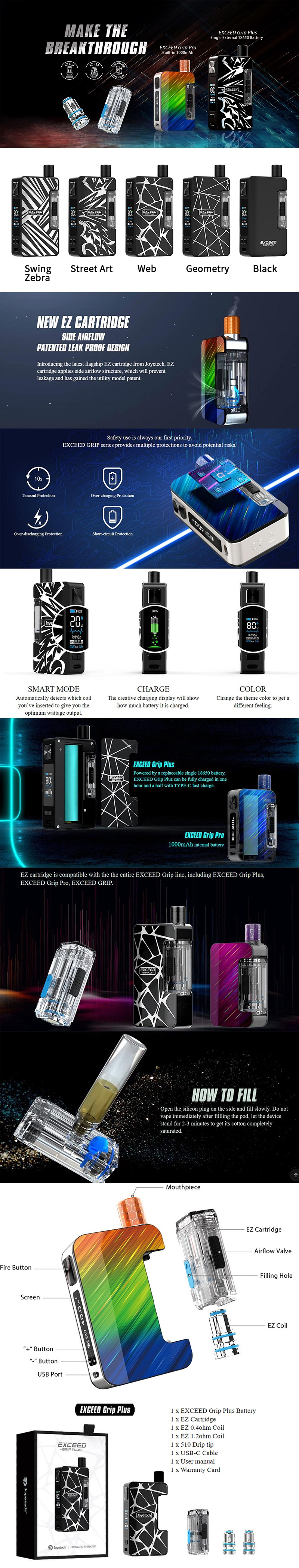 Joyetech Exceed Grip Plus 80W VW Box Mod Pod System Vape Starter Kit