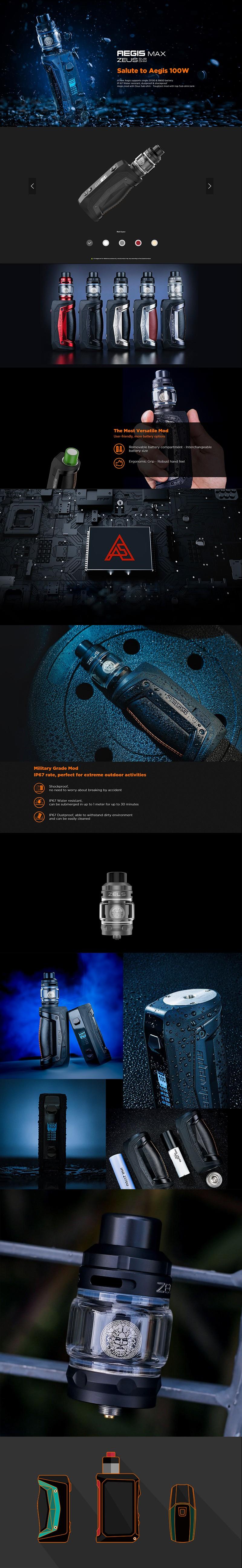 GeekVape Aegis Max 100W TC VW Mod Vape Starter Kit w/ Zeus Tank