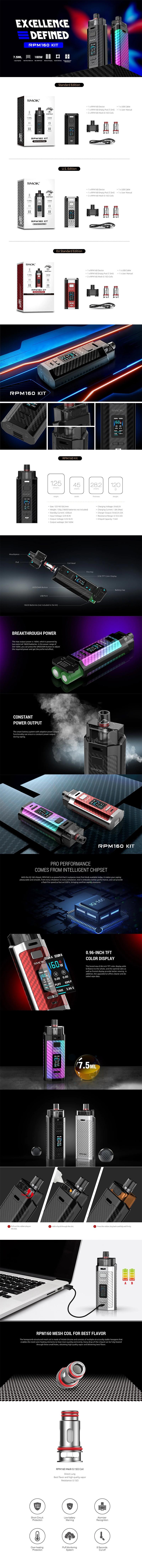 SMOK RPM160 160W VW Mod Pod System Vape Starter Kit