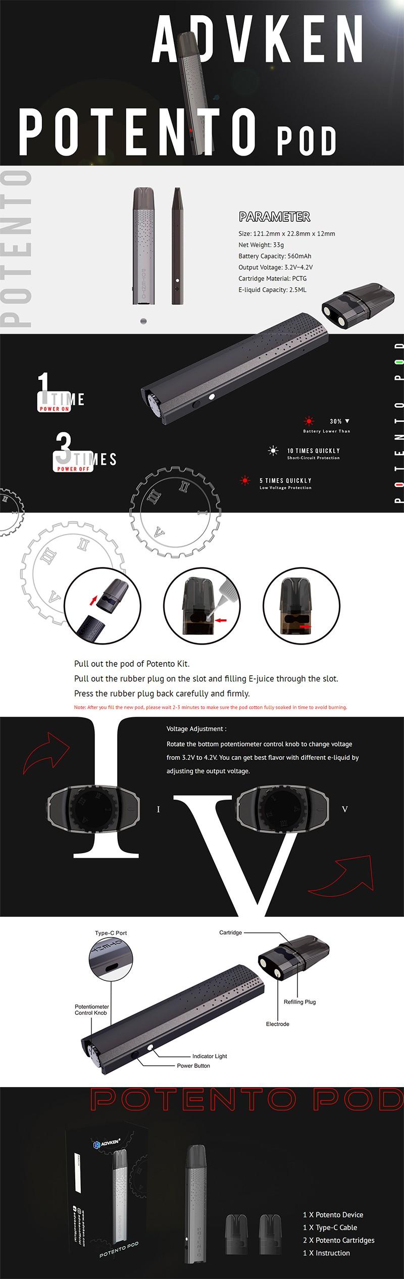 Advken Potento 560mAh Pod System Vape Starter Kit