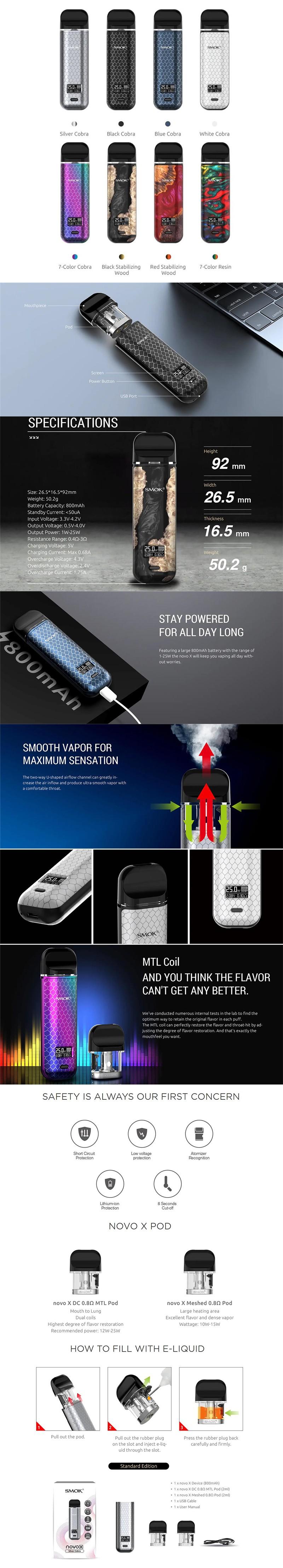 SMOK Novo X 25W 800mAh VW Pod System