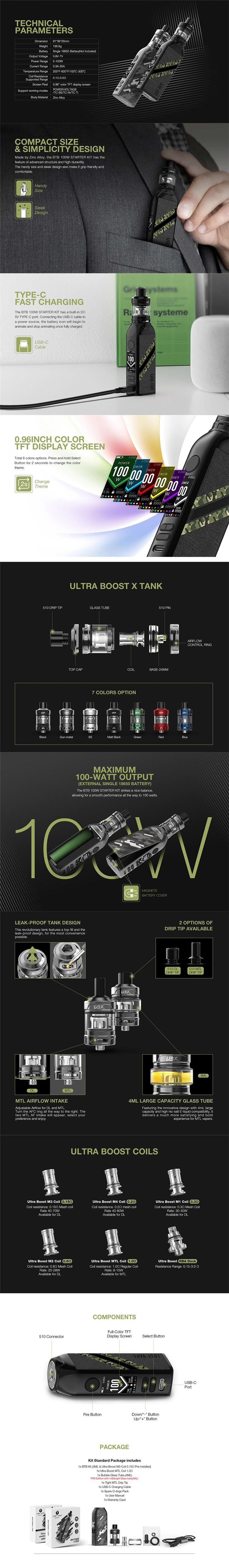 Lost Vape BTB 100W Box Mod Kit